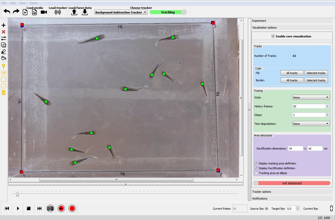 Bedienoberfläche der BioTracker-Software