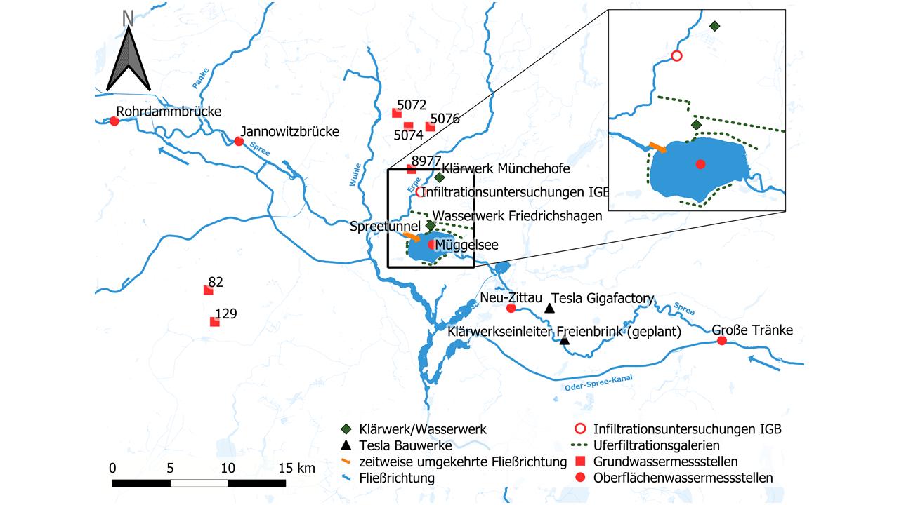 Abb. 1: Übersichtskarte über die in diesem Text genannten Gewässer, Probenahmepunkte und Infrastruktur zur Wasserver- und -entsorgung.   Abbildung: Anna Lena Kronsbein/IGB
