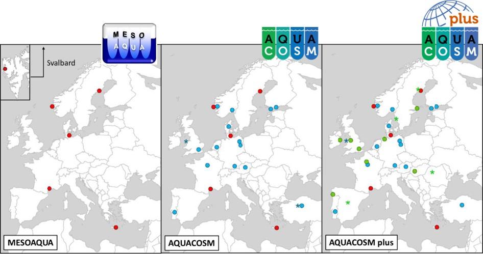 Development of the European mesocosm network towards the current RI AQUACOSM-plus